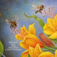 Bees detail from Yellow Astromerias painting